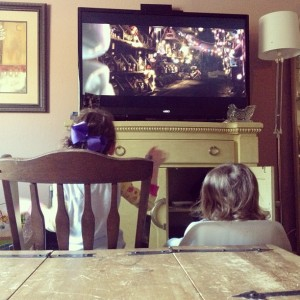 The diaper fiends, watching Wall-E on Sunday afternoon.
