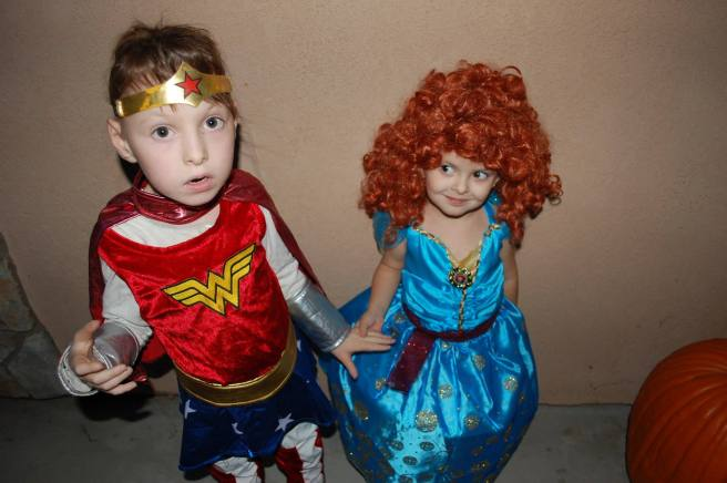 Cami as Wonder Woman, with her sister Violet who went as Merida.