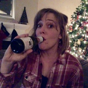 Erin with her go-to New Year's drink--Martinelli's apple cider. Accept no substitutes.