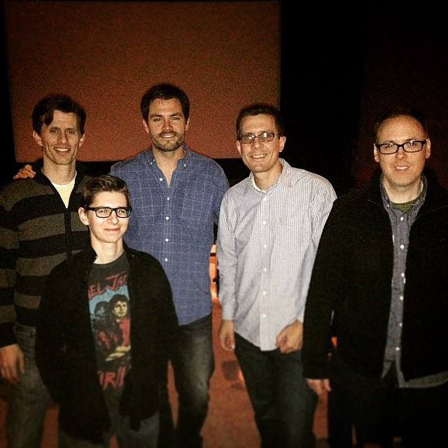 After the test screening. From L-R: 'Gallows' Writer-Directors Travis Cluff and Chris Lofing, Sound Designer Brandon Jones, Production Associate Nate Healy, and me.