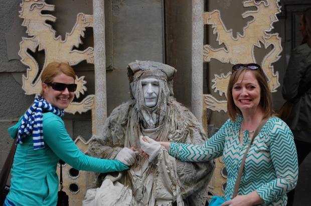 Lisa and Erin in Florence. This guy made like a statue and wouldn't let Erin's hand go.