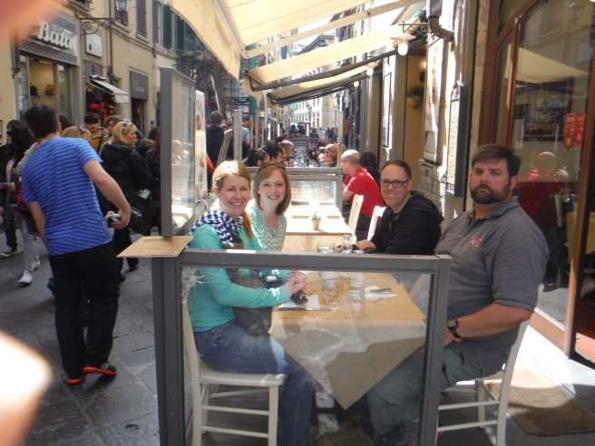 Lisa, Erin, Myself and Pete eating in Florence.