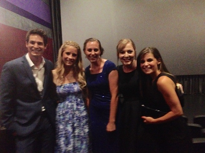 The stars of The Gallows with Erin and Megan. From L-R. Reese Mishler, Cassidy Gifford, Megan, Erin, Pfeifer Brown